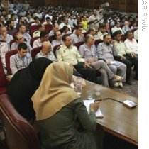Scene in Tehran court room where trials are taking place, 1 Aug. 2009 (AP).